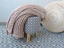 Úžitkový textil - Pletená deka 130 x 200 cm - kapučíno - 8381244_