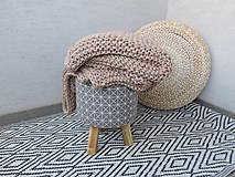Úžitkový textil - Pletená deka 130 x 200 cm - kapučíno - 8381248_