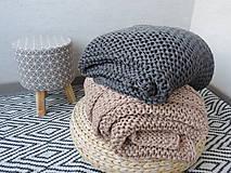Úžitkový textil - Pletená deka 130 x 200 cm - kapučíno - 8381249_