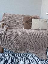 Úžitkový textil - Pletená deka 130 x 200 cm - kapučíno - 8381250_