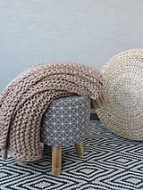 Úžitkový textil - Pletená deka 130 x 200 cm - kapučíno - 8381255_