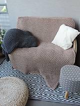 Úžitkový textil - Pletená deka 130 x 200 cm - kapučíno - 8381258_