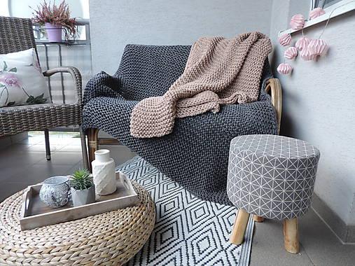 Pletená deka 130 x 200 cm - kapučíno