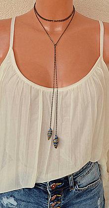 Náhrdelníky - Variabilný boho náhrdelník, čierna retiazka, modré mušle - 8381061_