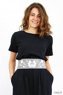 Šaty - Dámske šaty čierne s opaskom - 8379249_