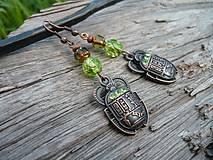 Náušnice - Náušnice Skarabeus měděný...zelený - 8383611_