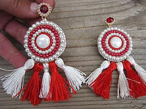 Náušnice - White/Red - tassels...vyšívané - 8383572_