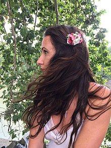 Ozdoby do vlasov - Romantický kvetinový hrebienok - 8384325_