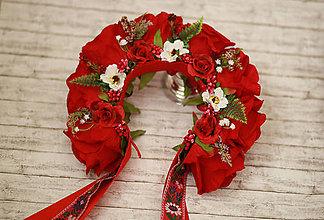 Ozdoby do vlasov - Svadobná ľudová kvetinová parta maky v červenom - 8384245_