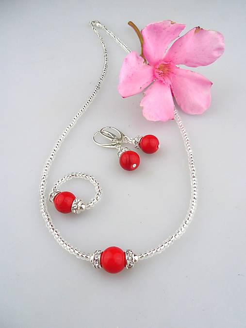 ed4e90098 Koral, striebro Ag925/1000 náhrdelník náušnice a prsteň - súprava ...