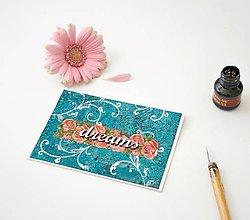 Papiernictvo - Dreams - romantická tyrkysová pohľadnica s ružami - 8381820_