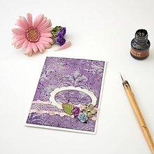 Papiernictvo - Romantická pohľadnica s rámčekom a kvetmi - na svadbu, narodeniny alebo inú príležitosť - 8381835_