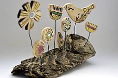 Socha - Keramická dekorácia Spievajúci vtáčik - 8382146_