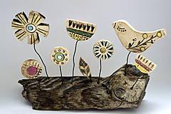 Socha - Keramická dekorácia Spievajúci vtáčik - 8382165_