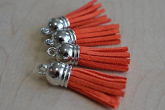 Polotovary - Kožený strapec pomaranč (striebro) 35mm, 0.28€/ks - 8383056_