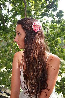 Ozdoby do vlasov - Ružový kvetinový hrebienok - 8384327_