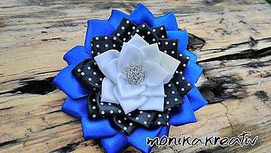 Ozdoby do vlasov - Gumička kráľovsky modrá s čiernou a bielymi bodkami - 8384881_