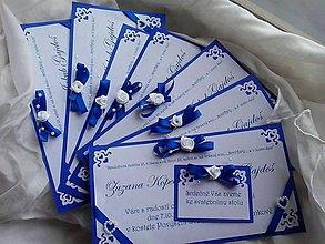 Darčeky pre svadobčanov - Svadobné oznámenie- ornament tmavě modrý - 8384691_