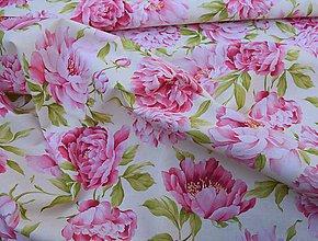Textil - Ružové pivónie - 8385311_
