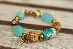 - Boho náramok z minerálov turquoise - 8385152_