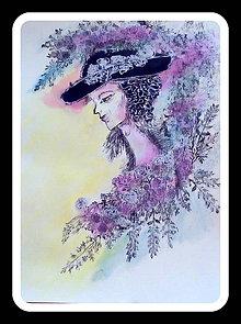 Kresby - Dáma v čiernom klobúku - 8388262_