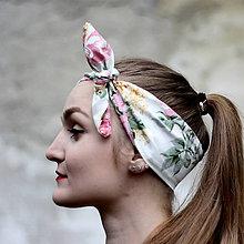 Ozdoby do vlasov - Vintage šatka do vlasov Ruže - 8388188_