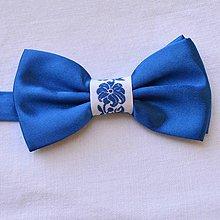 Doplnky - Folklórny motýlik , ľudový , folk , vyšívaný , s výšivkou , pánsky , modrý - 8388142_