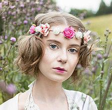 Ozdoby do vlasov - Sytě růžová, kvítky posetá čelenka - 8387152_