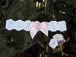 Bielizeň/Plavky - Biela a ružová - podväzok - 8388530_