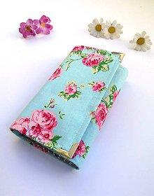 Peňaženky - Peňaženka- ružové kvety - 8390975_