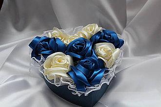 """Dekorácie - Flower box saténový """"Modrá ruža"""" - 8390270_"""
