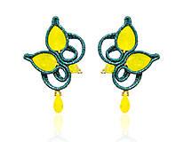 Náušnice - Smaragdovo-žlté náušnice Opál - 8391561_