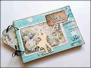 Papiernictvo - Svadobný vintage scrapbook mini album ,,SKy blue