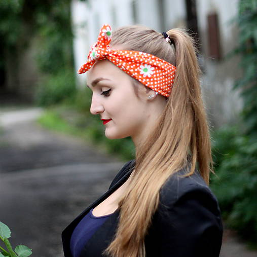 Vintage šatka do vlasov Margarétky   Cat.in.the.closet - SAShE.sk ... b94f5df136