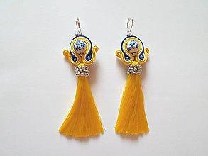Náušnice - Žlté šujtášové náušnice s hodvábnym strapcom -