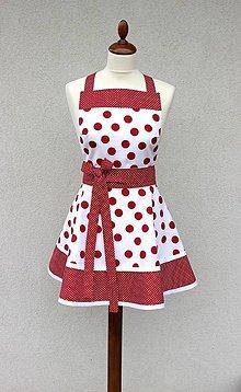 Iné oblečenie - zástera Loli gulička červená na bielej - 8393898_