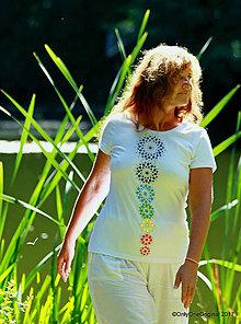 Tričká - Dámske tričko maľované, etno CHAKRAS - 8392457_
