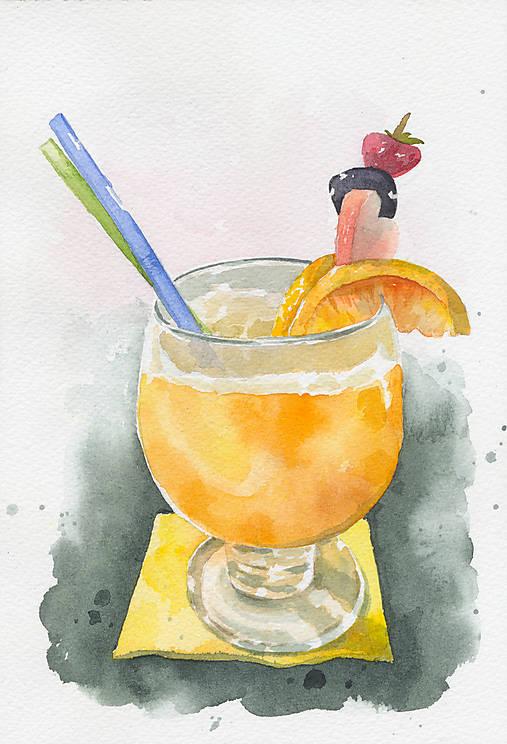 Pomarančový fresh - akvarel