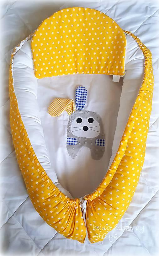 Textil - hniezdo pre bábätko, žltá v kombinácii s bielou (85X56 cm) - 8392942_