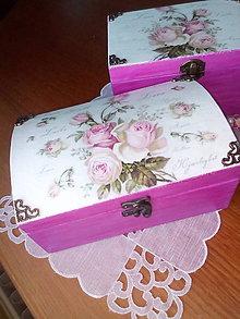Krabičky - Ružová šperkovnica vintage - 8394176_