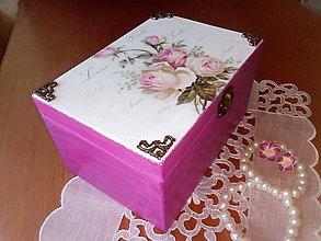 Krabičky - Šperkovnica ružová so zrkadlom - 8394230_
