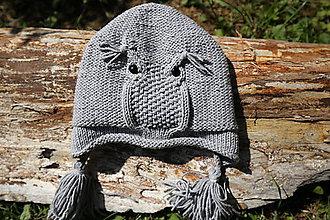 Čiapky - Sovička - detská čiapka 100% ovčia vlna - 8392316_