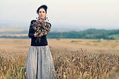 Sukne - Voálová s tiskem - šedá - 8393241_