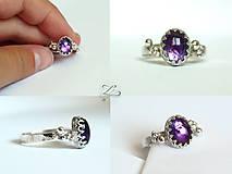 Prstene - Strieborný prsteň s ametystom - Levandulová - 8396234_