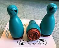 Pomôcky/Nástroje - Pečiatky smejkovia 3 ks - tyrkys - 8395229_