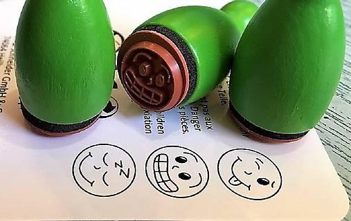 Pečiatky smejkovia 3 ks - zelená