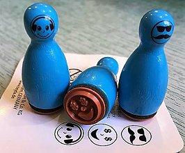 Pomôcky/Nástroje - Pečiatky smejkovia 3 ks - modrá - 8395223_