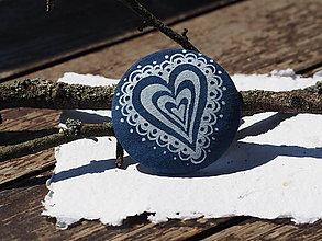 Odznaky/Brošne - Brošňa modrotlač srdce - 8398151_