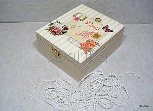 Krabičky - drevená krabička na čaj Paris - 8397074_