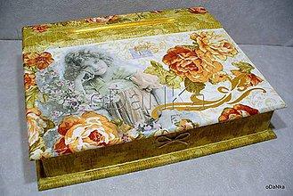 Nábytok - drevený sekretárik Ukrytá v ružiach - 8397188_